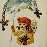 "SALE Little ""Snowshoe Girl"" With Handful Of Holly And Christmas Cheer"