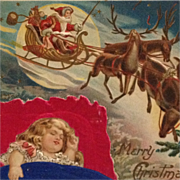 Sweet Dreams On Silk Pillow As Santa Flies By