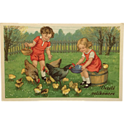 Vintage Easter Postcard Kids Feeding The Chickens