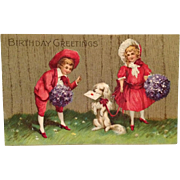 White Dog With Birthday Wishes and Friends In Red