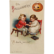 Signed Clapsaddle Halloween Children And Dark Secret