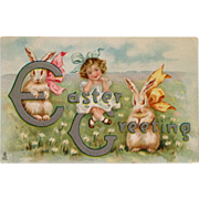 SOLD Tuck's Easter Frolic Bunnies With Ribbons And Curly Haired Girl