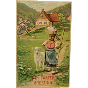 Easter Postcard-Mrs. Easter Rabbit Strolling With Lamb