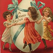 Easter Postcard-Girls Dancing Around Big Egg