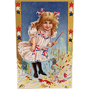 SOLD Patriotic Little Girl With Ribbons, Lace, And Firecrackers
