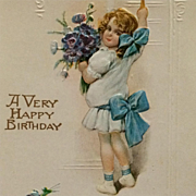 Birthday Greeting From Little Girl With Big Blue Bow