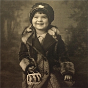 SOLD Matted Photo-Happy Toddler In Big Warm Coat With Purse