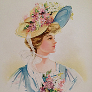 Spring Beauty With Flower Trimmed Bonnet And Big White Bow- Grey Litho Co. 1908