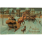 SOLD Golden Highlighted New Year's Greetings With Sleigh, Coach And  Dog