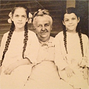RPPC-Olive And Inez In Pigtails With Grandma