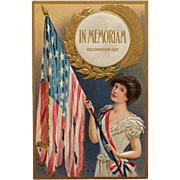 Embossed - Decoration Day Flag And Gold Wreath