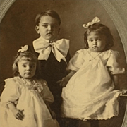 SOLD Cabinet Card- Three Darling Edwardian Children With Bows
