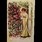 Embossed-Beauty Reading In The Rose Garden