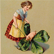 SOLD Tuck's St. Patrick's Day Lass With Piglet And Shamrock