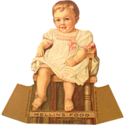 Trade Card- Mellin's Baby Food With Beautiful Blue Eyed Baby  and Pink Ribbons