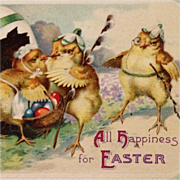 SOLD Flower Capped Easter Chicks With Colored Eggs-Unsigned Clapsaddle
