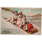 "Trade Card- Toboggan Riders Advertise ""Toboggan Outfits Complete"""