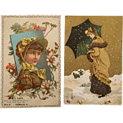 Victorian Trade Card Fall Beauties