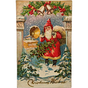 Postcard -Santa Listens To Music From Victrola