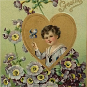 Tuck's Valentine Postcard- Golden Heart And Boy With Iris