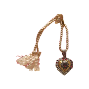 SALE Garnet and gilded silver heart-shaped pendant dated at the 19th century