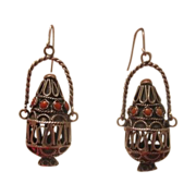 Antique Coral earrings, silver 925,19th century