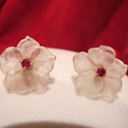 SOLD Pair of frosted rock crystal and Ruby studs, eighteen karat yellow gold