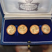 SOLD Eighteen -Karat yellow gold cuff links with orange enamel border,crafted by Ventrella/Rom