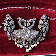 SOLD Art Nouveau silver and fourteen karat white gold necklace depicting two peacocks
