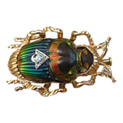 SOLD Fourteen -Karat yellow gold brooch in the shape of a Scarab