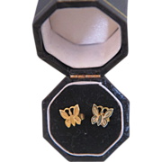 Fourteen karat yellow gold  children butterfly ear studs , ca.1960