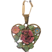 Art Nouveau enamel heart shaped pendant, ca. 1900
