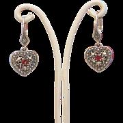Italian silver, Garnet and Marcasite  dangle earrings, ca.1970