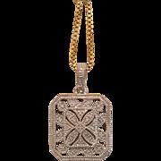 Art Nouveau silver pendant with diamonds, ca. 1900