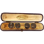 Pair of Brown Quartz and 14k yellow gold cuff links, ca. 1960