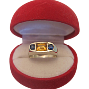 Citrine and Sapphire 3 stone ring set in 18k white gold, ca.1920