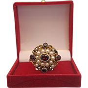Antique Garnet brooch with cultured pearl set in gilt silver,19th century