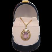 Art Deco Amethyst pendant, 14k yellow and white gold, ca.1940