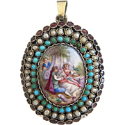 Antique Viennese Enamel locket, with turquoise, seed pearls and Amethysts set in gilt silver,