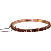 Antique Bohemian Garnet bracelet set in gilt silver, 19th century