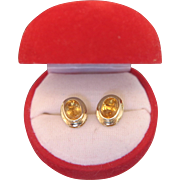 Pair of Citrine and 14k yellow gold earrings, ca. 1960