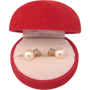 Cultured pearl and Diamond ear studs, 14k yellow gold, ca.1970