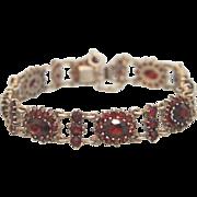 Antique Bohemian Garnet and silver bracelet ,19th century
