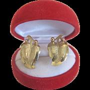 14k yellow gold ear clips, ca. 1960