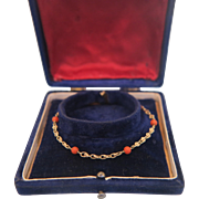 14k yellow gold bracelet with six red Coral beads, ca. 1950