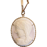 18th century shell Cameo pendant, 9 k yellow gold mounting