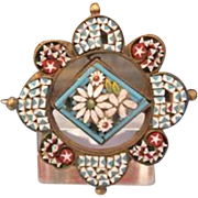 Antique MicroMosaic brooch of the Grand Tour Era,19th century