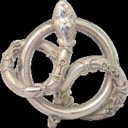 Art Nouveau silver snake brooch, ca. 1900
