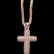 Cross pendant ,14K white gold with Zirconia, ca. 1960