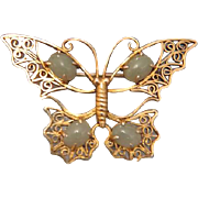 Art Nouveau butterfly brooch with Jade cabochons, gilt silver, ca. 1910